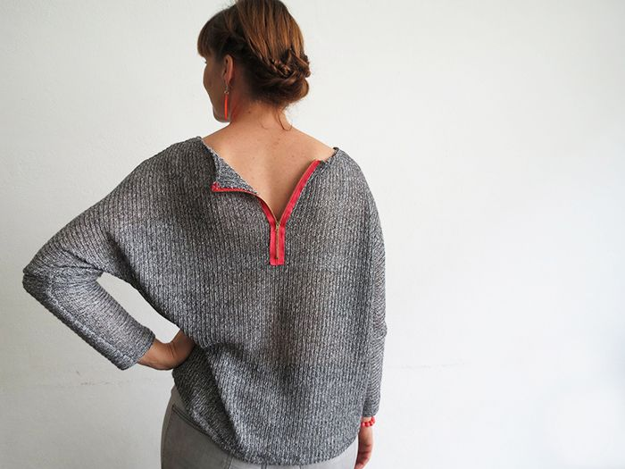Gratis Damen Schnittmuster - pretty sweater using knit fabric