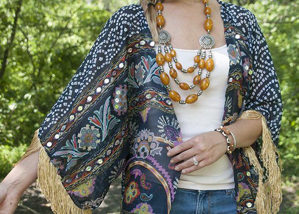 Gratis Damen Schnittmuster - Aus Schal wird Kimono