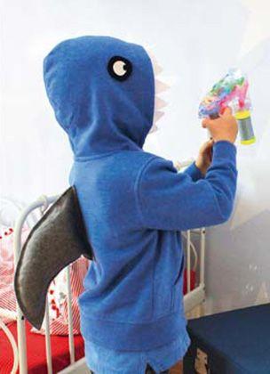 Gratis Fasching Schnittmuster - Einfaches Hai-Kostüm zum Selbermachen