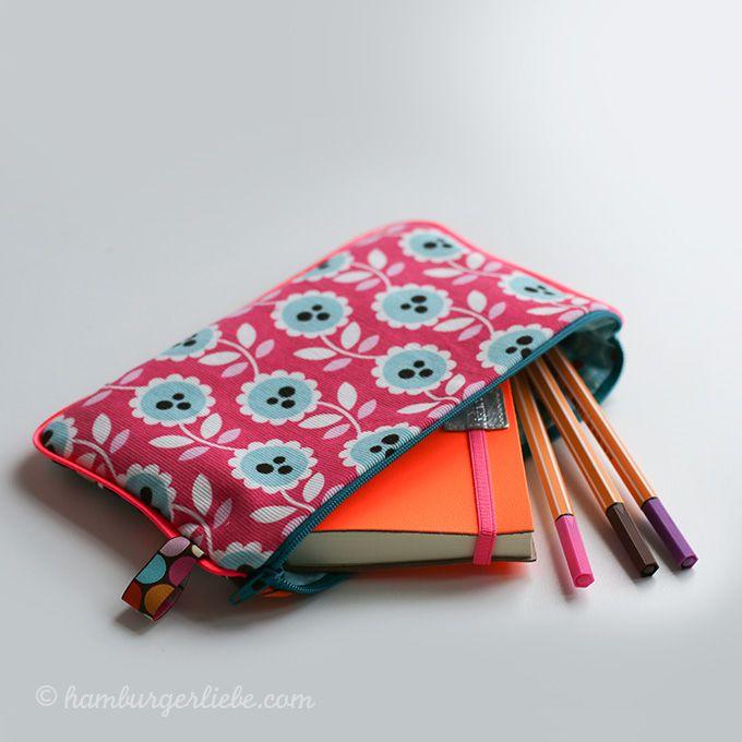 Gratis Taschen Schnittmuster - Schreibmäppchen mit Endlosreißverschluss und Paspel