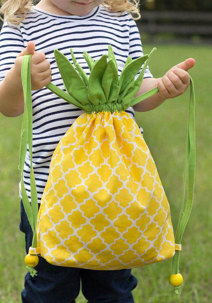 Gratis Kinder Schnittmuster - Pineapple Drawstring Backpack