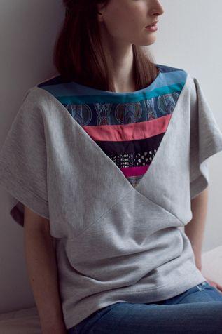 Gratis Damen Schnittmuster - T-Shirt mit besonderen Ausschnitt